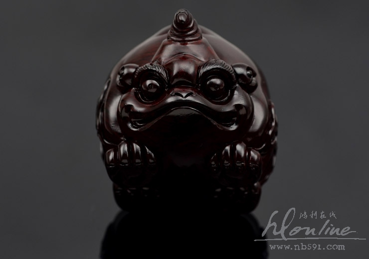 百吉雕刻 印度小叶紫檀手把件 4寸拱财独角兽Z197 (8).JPG