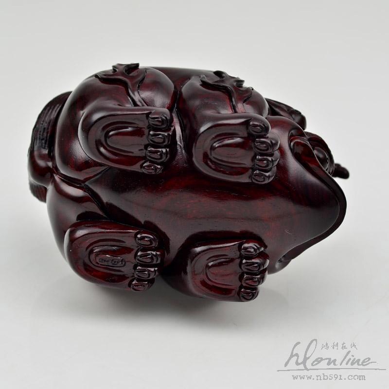 百吉雕刻 印度小叶紫檀手把件 4寸拱财独角兽Z197 (5).JPG