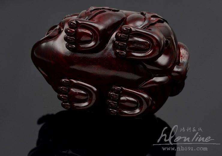 百吉雕刻 印度小叶紫檀手把件 4寸拱财独角兽Z197 (13).JPG