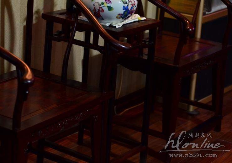 老挝红酸枝明式圈椅一套交趾黄檀明式圈椅 老红木圈椅一套 (31).JPG