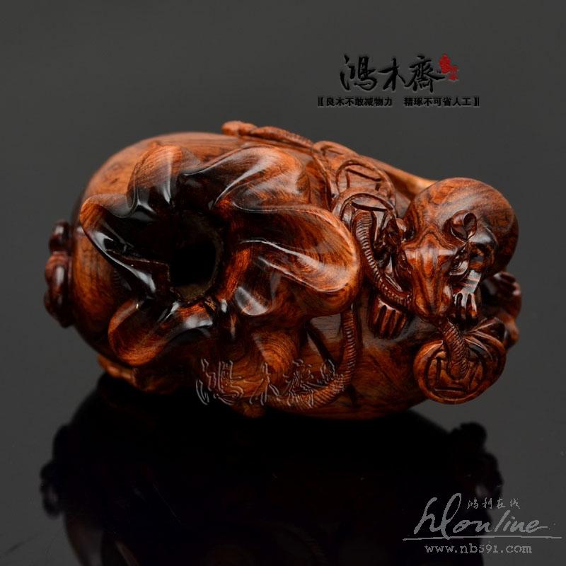 百吉雕刻海南黄花梨手把件百吉木雕海黄三鼠数财小高