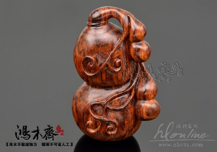 百吉雕刻葫芦福禄海南黄花梨糠梨老料手工雕刻葫芦海黄葫芦百吉款H