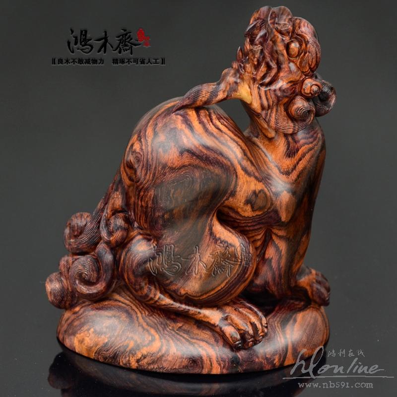 黄花梨木貔貅手把件百吉雕刻极品纹理海南黄花梨把件摆件四寸坐貔貅孤
