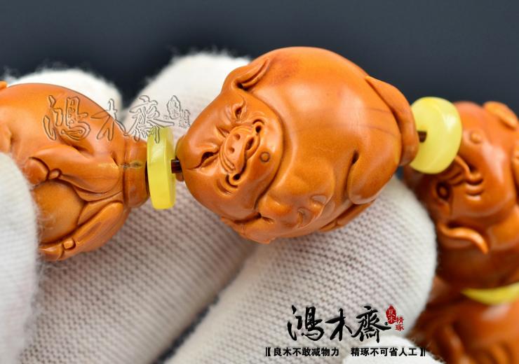 百吉雕刻橄榄手串福猪仲庸孤款核雕手串收藏极品孤品款G07 (12).JPG