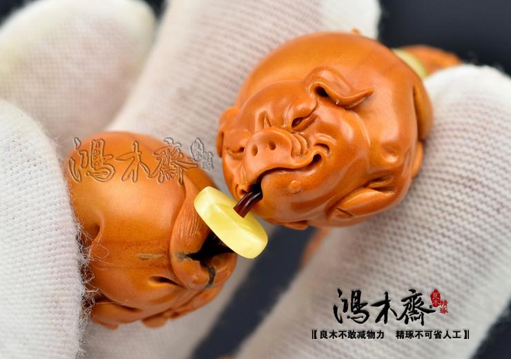 百吉雕刻橄榄手串福猪仲庸孤款核雕手串收藏极品孤品款G07 (11).JPG