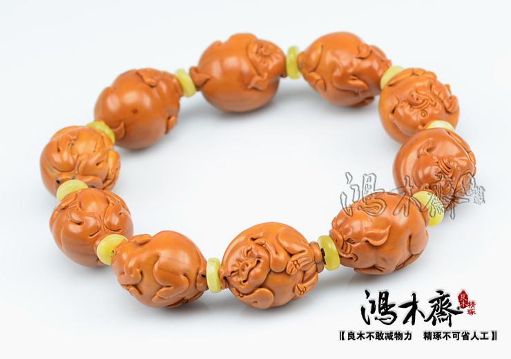 百吉雕刻橄榄手串福猪仲庸孤款核雕手串收藏极品孤品款G07 (17).JPG
