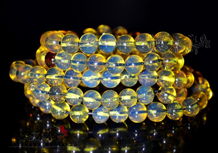 多米尼加蓝珀108颗第二选择极品缅甸蓝珀8MM证书孤品净水HP72 (11).JPG
