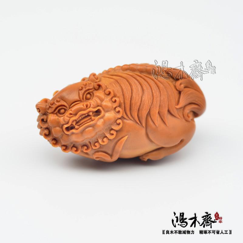 百吉雕刻橄榄核雕仲庸款大核单子吊坠狮子孤品鸿木斋包邮G09 (3).JPG