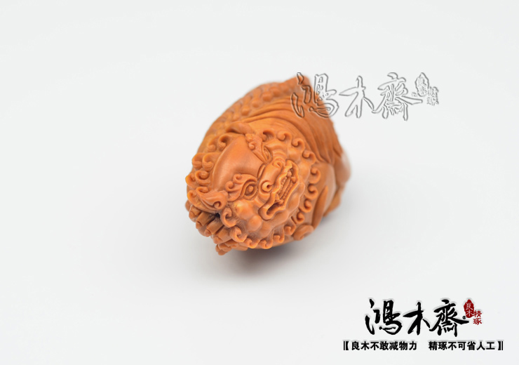 百吉雕刻橄榄核雕仲庸款大核单子吊坠狮子孤品鸿木斋包邮G09 (6).JPG