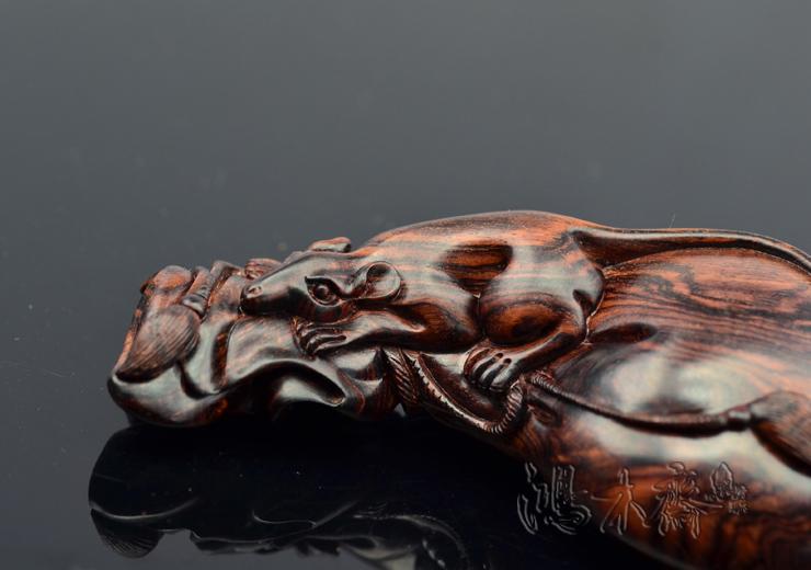 百吉雕刻海南黄花梨手把件老鼠钱袋正宗海南西部老老