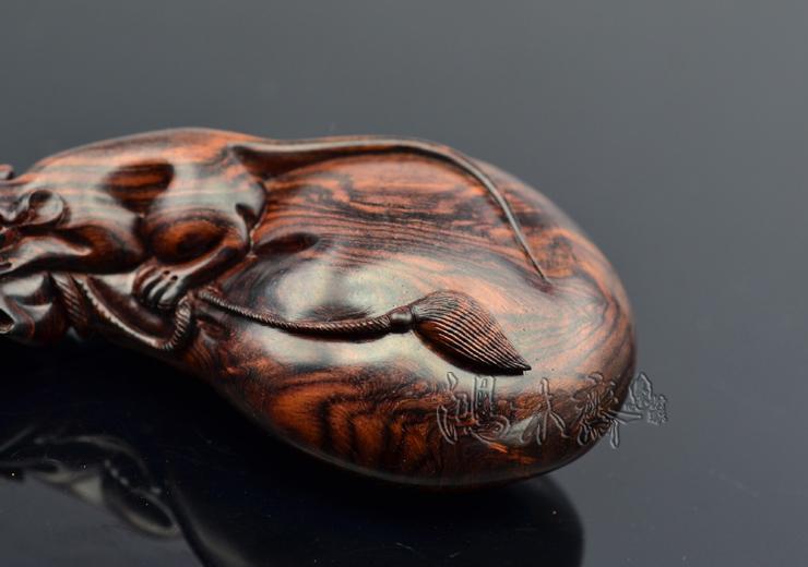 百吉雕刻海南黄花梨手把件老鼠钱袋正宗海南西部老