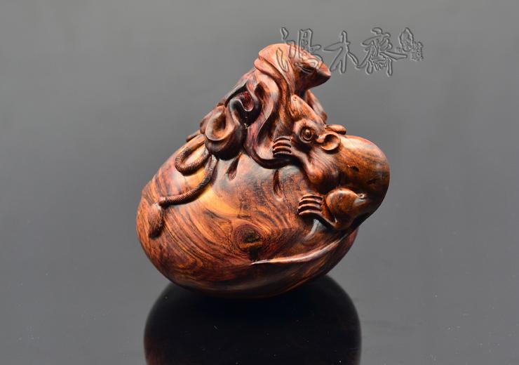 百吉雕刻老鼠钱袋正宗海南西部老糠梨根料高密度沉水