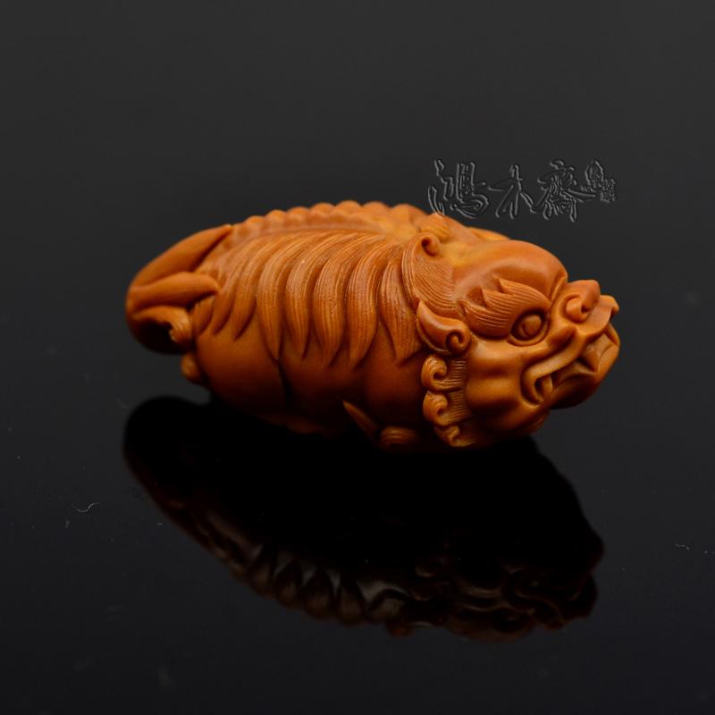 百吉雕刻 貔貅 橄榄核雕大籽单核 百吉款貔貅 橄榄核坠配饰g26