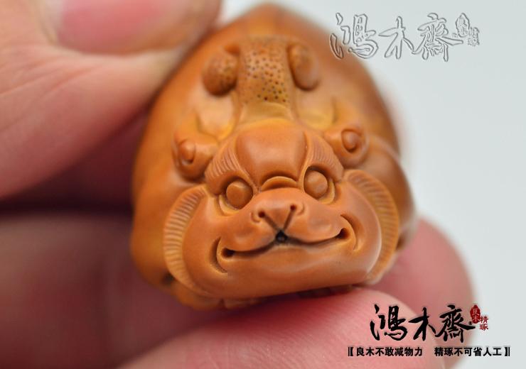 百吉橄榄核雕刻 单子大核 百吉款 螭虎 百吉雕刻橄榄核 G29 (10).JPG