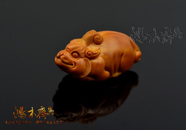 百吉橄榄核雕刻 单子大核 百吉款 螭虎 百吉雕刻橄榄核 G29 (11).JPG