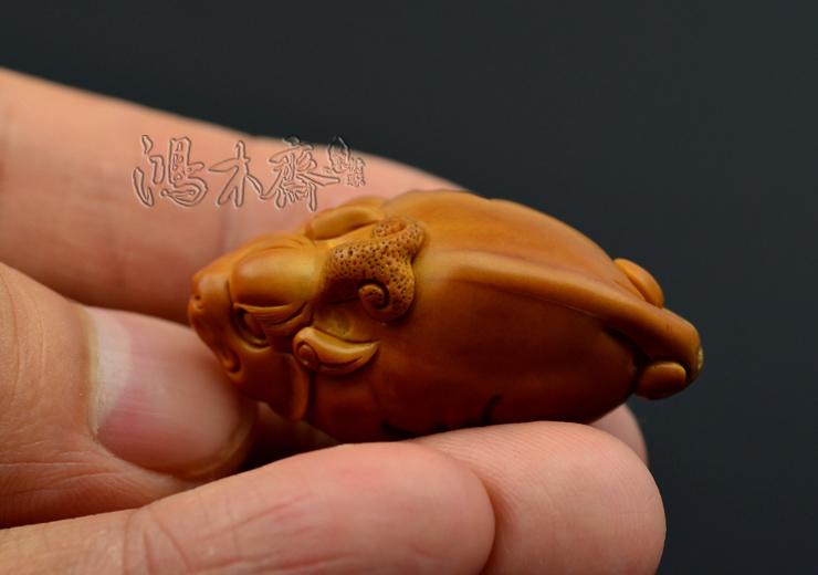 百吉橄榄核雕刻 单子大核 百吉款 螭虎 百吉雕刻橄榄核 G29 (16).JPG