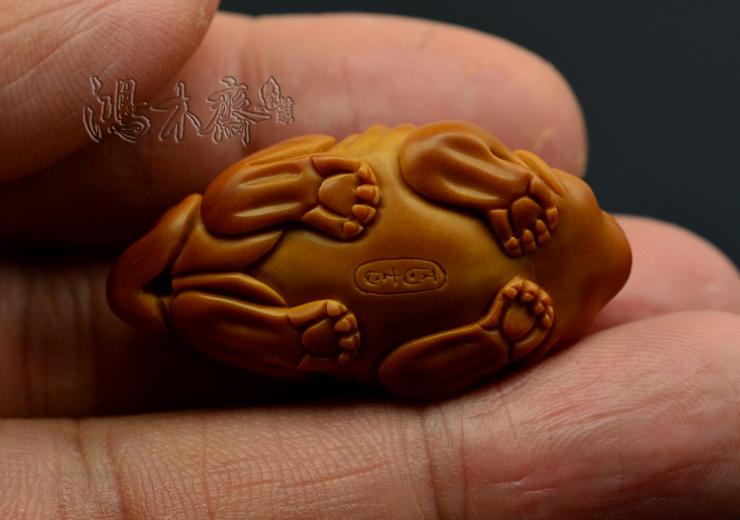 百吉橄榄核雕刻 单子大核 百吉款 螭虎 百吉雕刻橄榄核 G29 (18).JPG