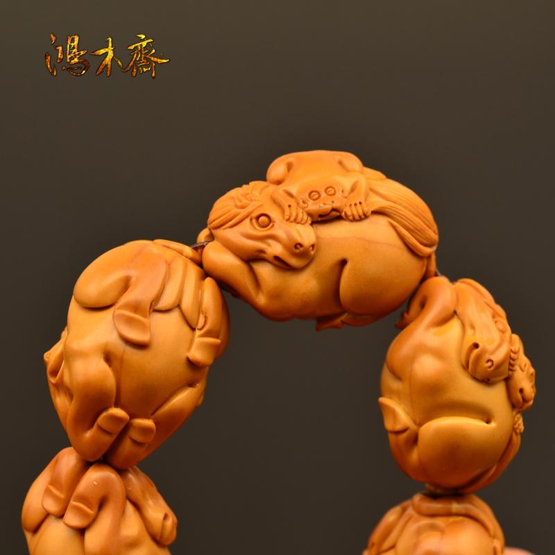 百吉雕刻 橄榄核雕 手串 2014年新款马上封侯大籽 10颗G38 (5).JPG