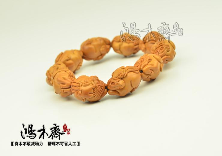 百吉雕刻 橄榄核雕 手串 2014年新款马上封侯大籽 10颗G38 (7).JPG