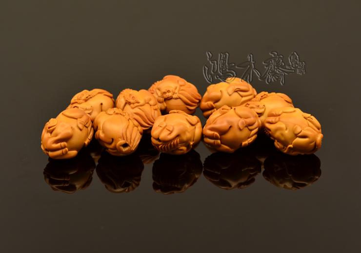 百吉雕刻 橄榄核雕 手串 2014年新款马上封侯大籽 10颗G38 (16).JPG