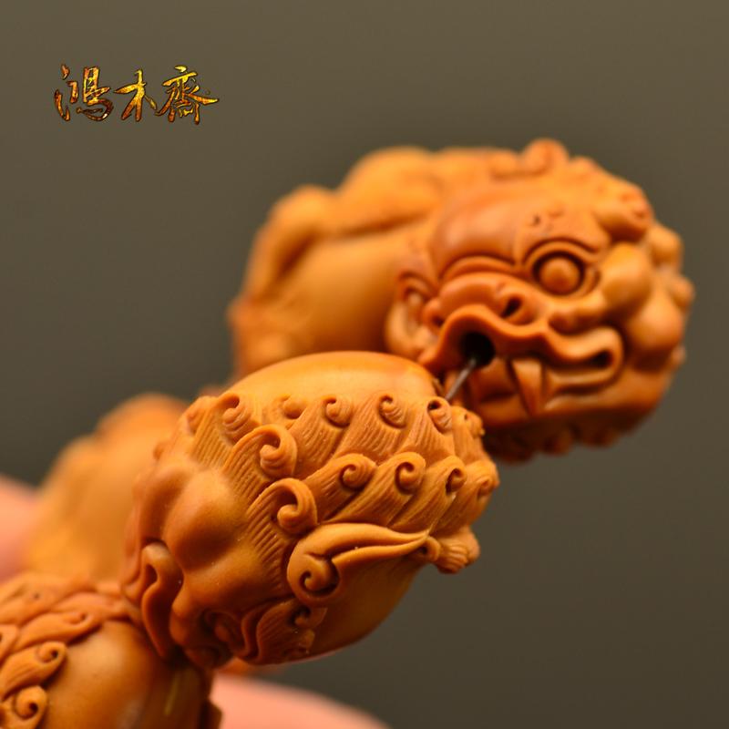 百吉雕刻 橄榄核雕 百吉款狮子头 手串 10颗G39 (5).JPG