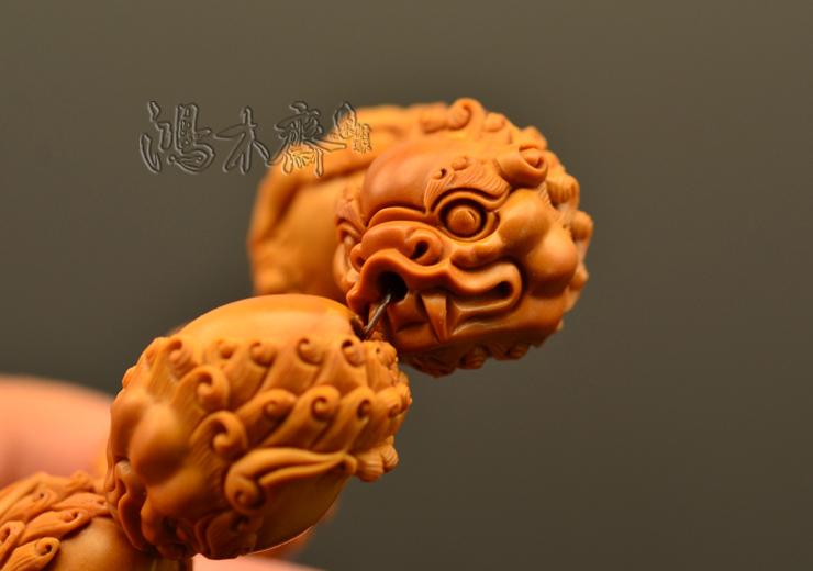 百吉雕刻 橄榄核雕 百吉款狮子头 手串 10颗G39 (7).JPG