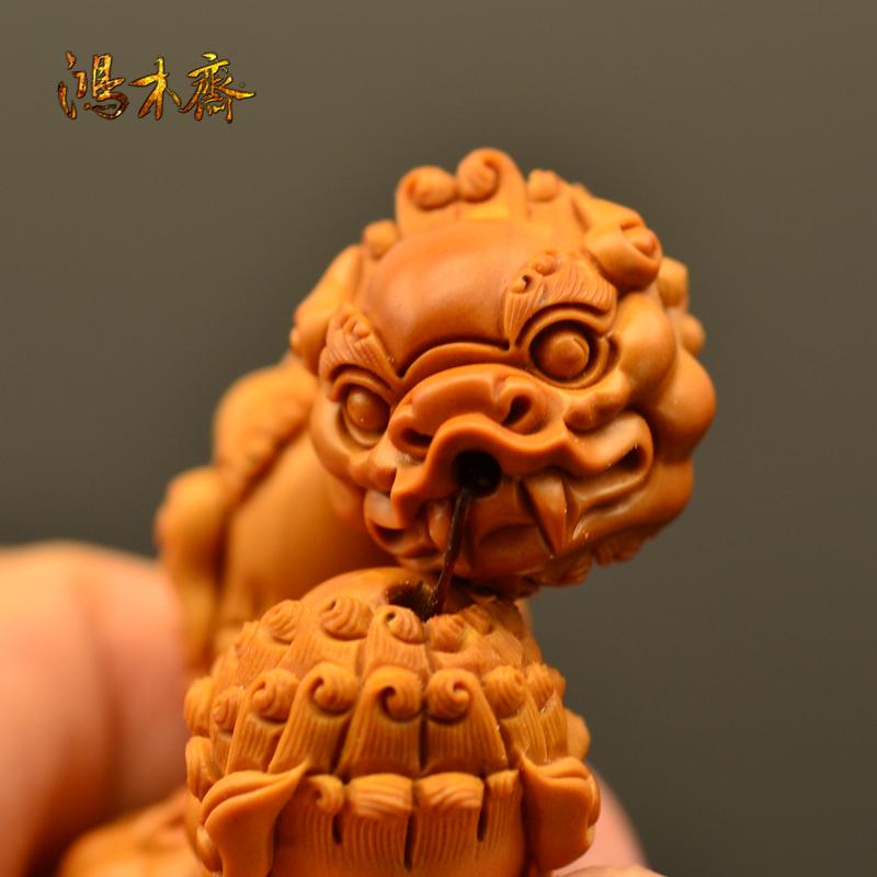 百吉雕刻 橄榄核雕 百吉款狮子头 手串 10颗G39 (3).JPG