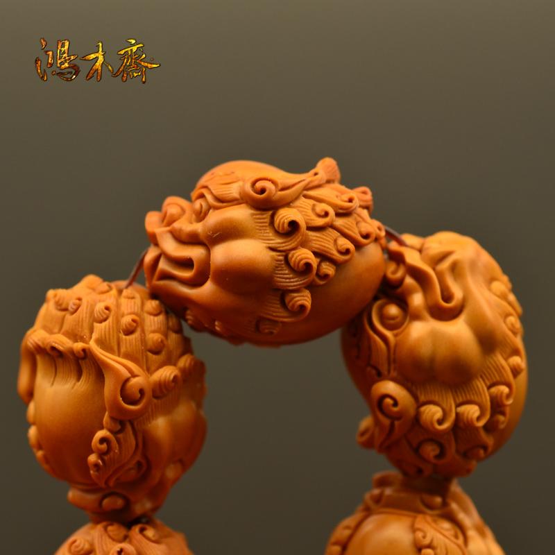 百吉雕刻 橄榄核雕 百吉款狮子头 手串 10颗G39 (4).JPG