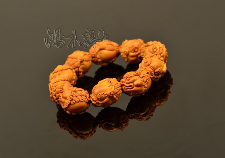 百吉雕刻 橄榄核雕 百吉款狮子头 手串 10颗G39 (6).JPG