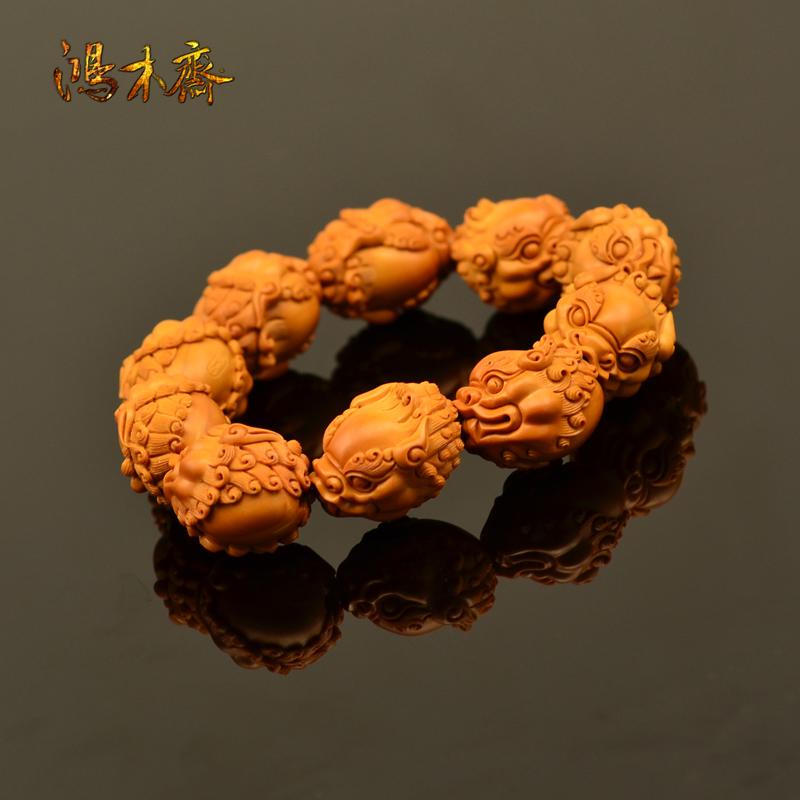 百吉雕刻 橄榄核雕 百吉款狮子头 手串 10颗G39 (2).JPG