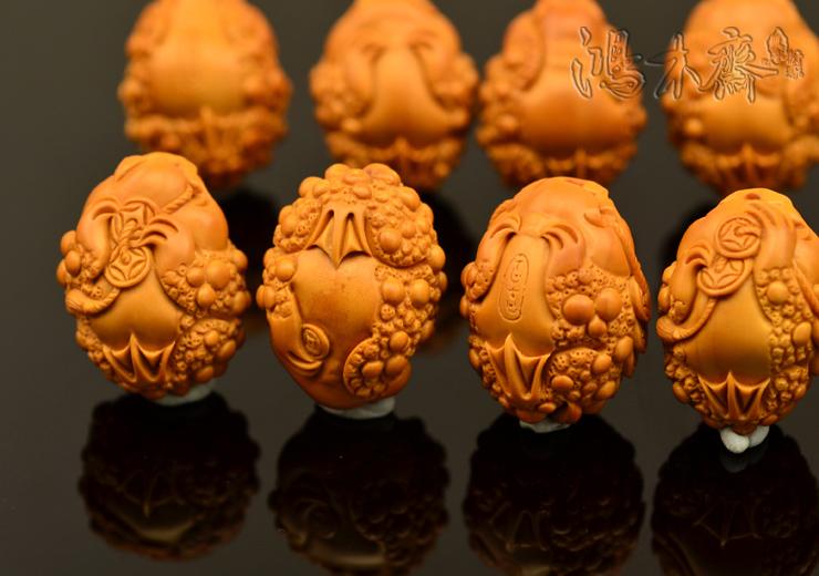百吉雕刻 橄榄核雕 手串 百吉款金蟾手串 大籽10颗G40 (16).JPG
