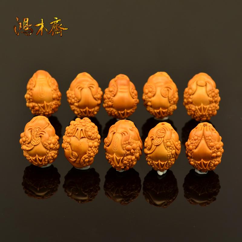 百吉雕刻 橄榄核雕 手串 百吉款金蟾手串 大籽10颗G40 (5).JPG