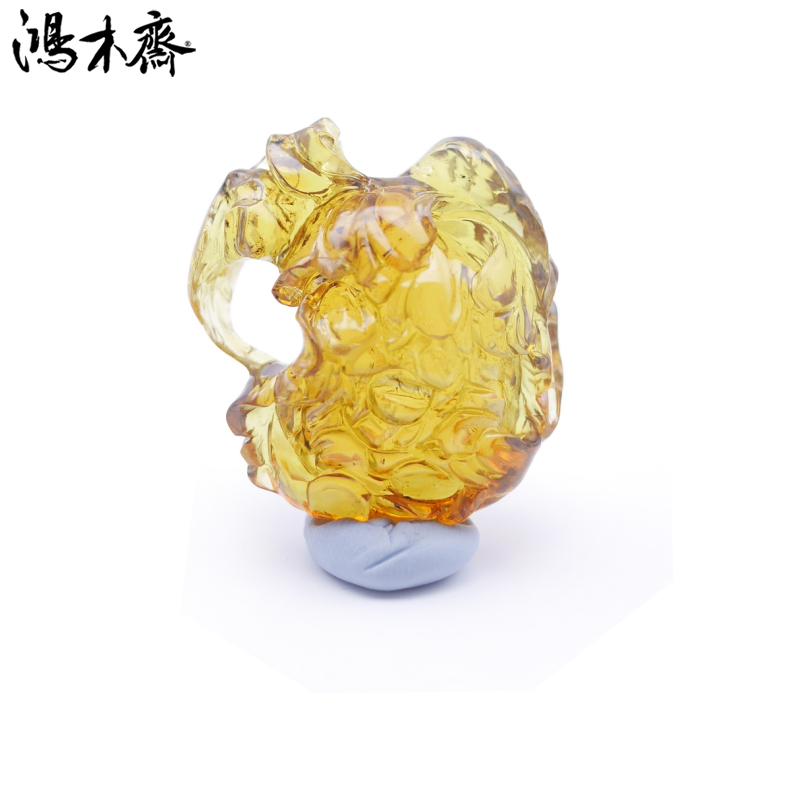 鸿木斋 多米尼加 蓝珀 天空蓝 牡丹花 镂空 雕刻件 孤品BA59   1 (1).jpg