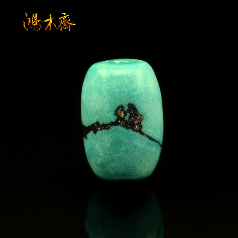 鸿木斋 洞子沟绿松石散珠 纯天然 高瓷高蓝 腰珠 孤品 S413  (2).JPG