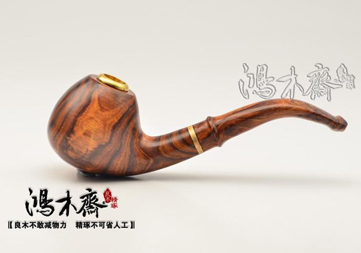 鸿木斋 海南黄花梨木烟斗 糠梨 虎皮纹 海黄手把件 孤品 H4256 (6).JPG