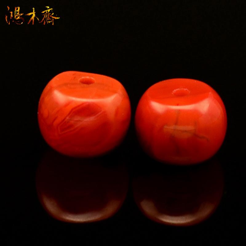 鸿木斋 纯天然四川南红 无优化 柿子红 腰珠 孤品 N1286  (2).JPG