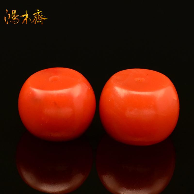 鸿木斋 天然保山南红散珠 无优化 柿子红 腰珠 孤品 N1466 (2).JPG