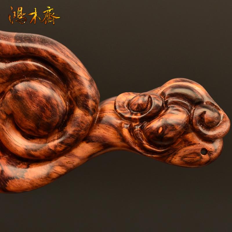 鸿木斋 百吉雕刻如意 海南黄花梨手把件 孤品 H4358 (4).JPG
