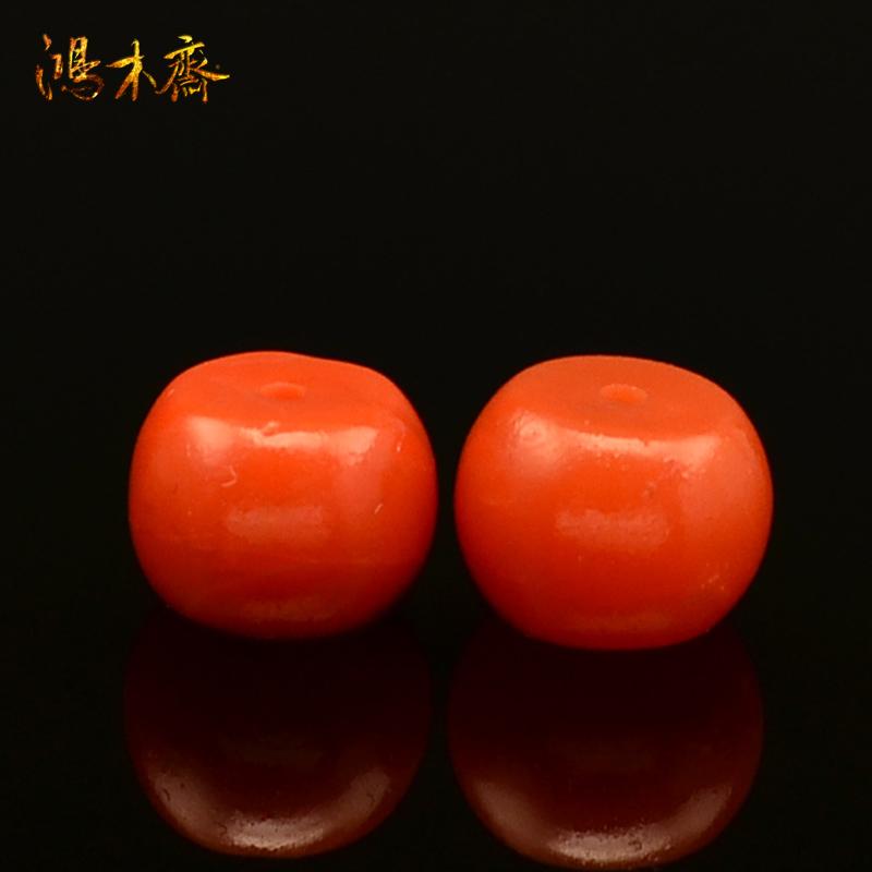 鸿木斋 天然保山南红散珠 柿子红 南红腰珠 孤品 N1639 (2).JPG