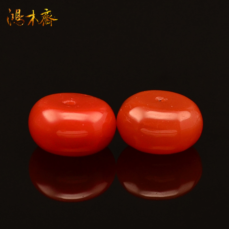鸿木斋 天然南红散珠 四川联合料 樱桃红 腰珠 孤品 N1777 (2).JPG