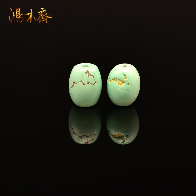 鸿木斋 天然绿松石腰珠 湖北郧西 高瓷天蓝 散珠 孤品 S608 (2).JPG