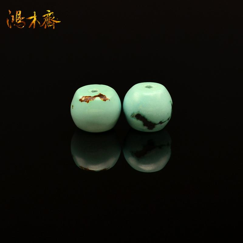 鸿木斋 纯天然绿松石散珠 湖北郧西 高瓷天蓝 腰珠 孤品 S613 (2).JPG