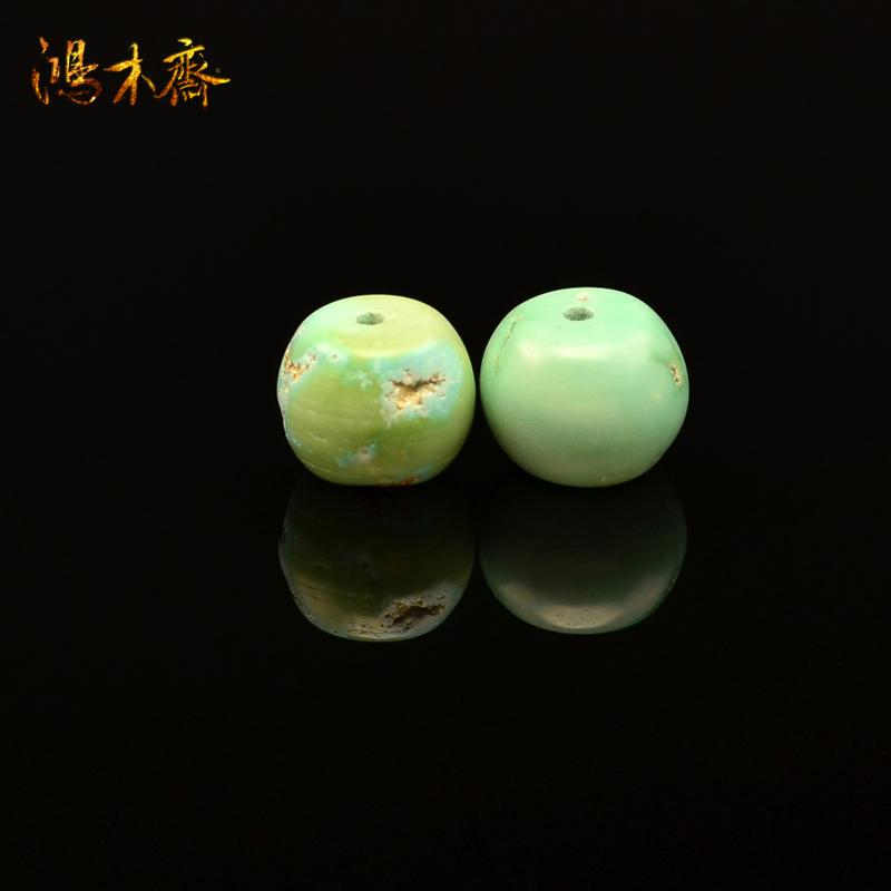 鸿木斋 天然绿松石腰珠 高瓷天蓝 湖北郧西 散珠 孤品 S625 (2).JPG
