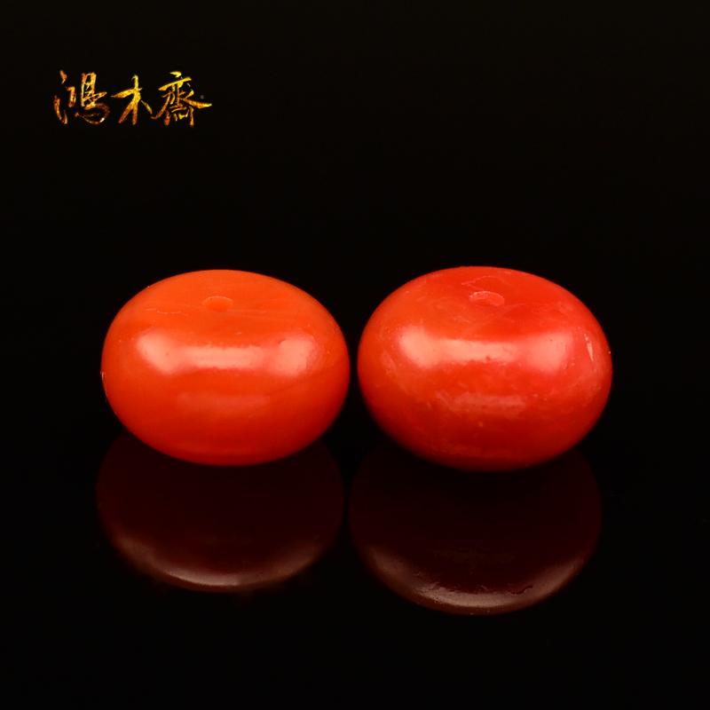 鸿木斋 天然保山南红散珠 柿子红 腰珠 孤品 N1880 (2)副本.jpg