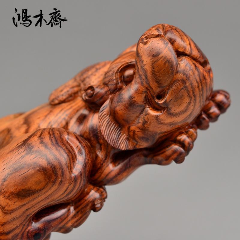 鸿木斋 海黄百吉雕刻 螭虎 黄花梨手把件 孤品 H4660 (4).JPG