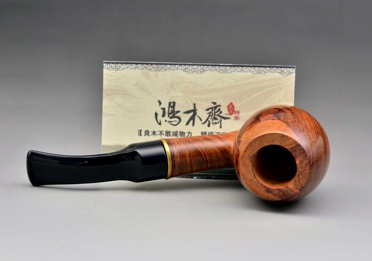 鸿木斋 黄花梨烟斗何 鬼脸 海黄把件 孤品 H4682 (11).JPG