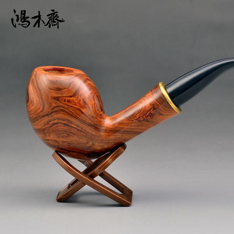 鸿木斋 黄花梨烟斗何 鬼脸 海黄把件 孤品 H4685 (2).JPG