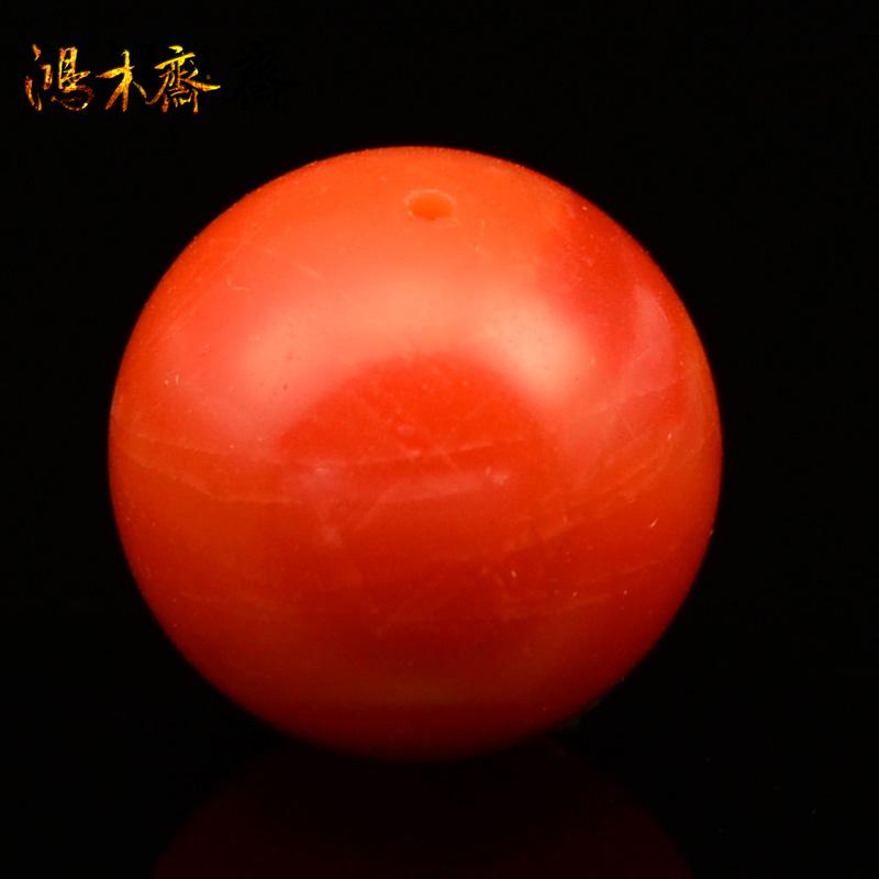 鸿木斋 保山南红单珠 纯天然 柿子红 南红玛瑙 顶珠 孤品 N2442 (2).JPG