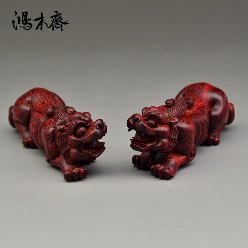 鸿木斋 紫檀雕刻 对璃虎 小叶紫檀带金星 手把件 Z973 (2).JPG