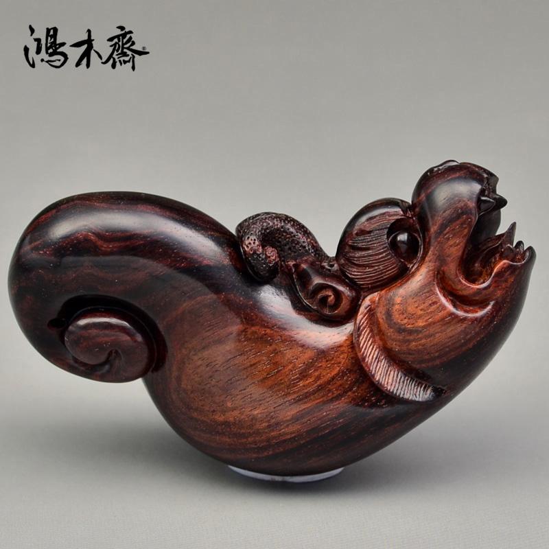 鸿木斋 海南黄花梨把件 百吉雕刻 黄花梨木 螭虎 孤品 H4920 (2).JPG